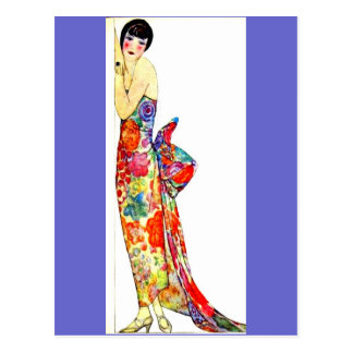 Art Deco Lady in formal Gown Post Cards