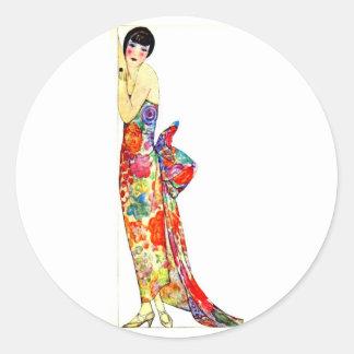 Art Deco Lady in formal Gown Round Sticker