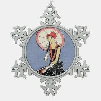 Art Deco Lady in Little Black Dress Pewter Snowflake Decoration