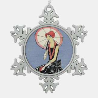 Art Deco Lady in Little Black Dress Snowflake Pewter Christmas Ornament