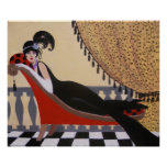 ART DECO LADY ON A LOUNGE POSTER