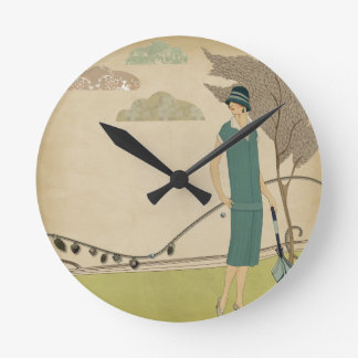 Art Deco Lady Round Clock