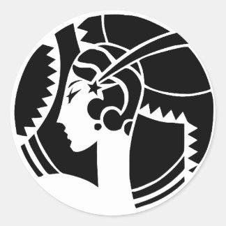 Art Deco Lady Round Sticker
