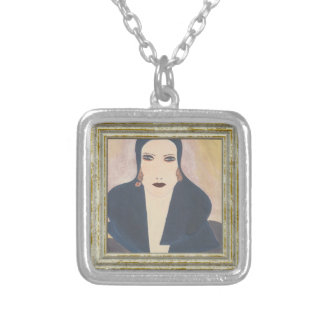 Art Deco Lady Silver Plated Necklace