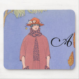 Art Deco Lady – Standing beside the dog. Mouse Pad