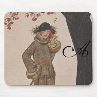 Art Deco Lady - Standing beside the tree. Mouse Pad