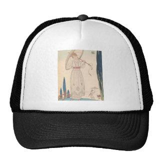 Art Deco Lady – Standing with umbrella. Cap