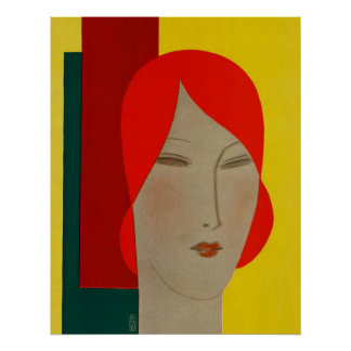 Art Deco Large Head Woman by Cubist Eduardo Benito Poster