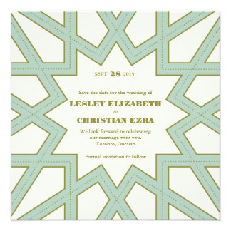 Art Deco Lattice Save The Date // Aqua and Green 13 Cm X 13 Cm Square Invitation Card