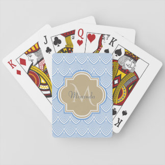 Art Deco Light Blue Fish Scales Tan Monogram Name Playing Cards