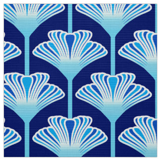 Art Deco Lily, Cobalt Blue, Aqua and White Fabric