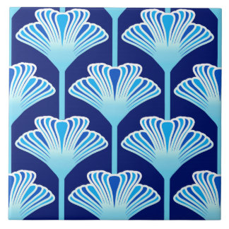 Art Deco Lily, Cobalt Blue, Aqua and White Large Square Tile
