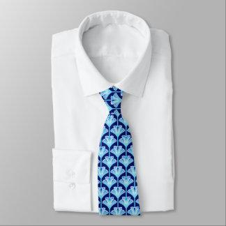 Art Deco Lily, Cobalt Blue, Aqua and White Tie
