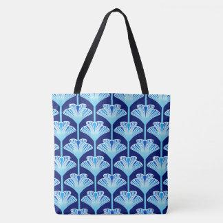 Art Deco Lily, Cobalt Blue, Aqua and White Tote Bag