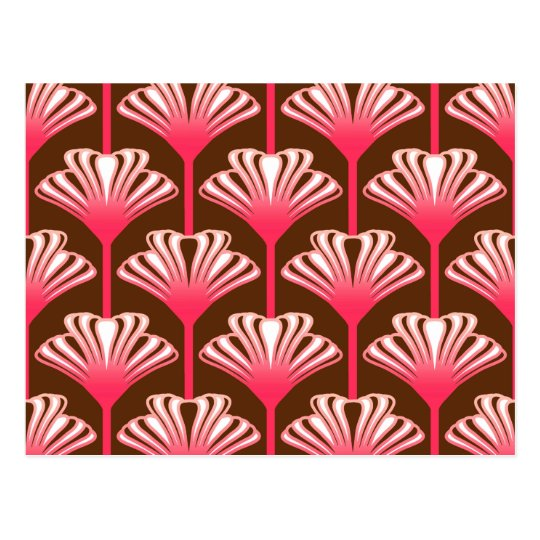 Art Deco Lily, Dark Brown and Coral Pink