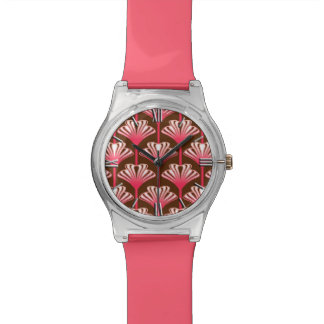 Art Deco Lily, Dark Brown and Coral Pink Wristwatch