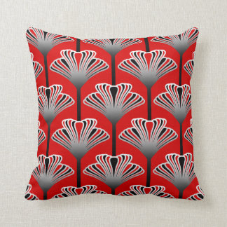 Art Deco Lily, Deep Red and Gray / Grey Cushion