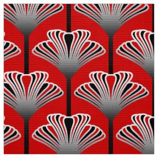 Art Deco Lily, Deep Red and Gray / Grey Fabric