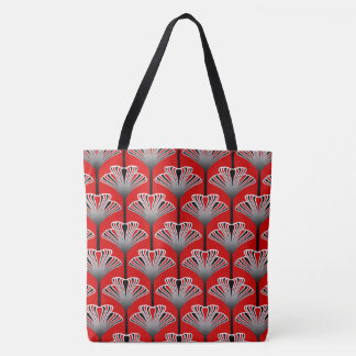 Art Deco Lily, Deep Red and Gray / Grey Tote Bag