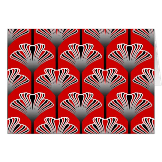 Art Deco Lily, Deep Red and Grey /