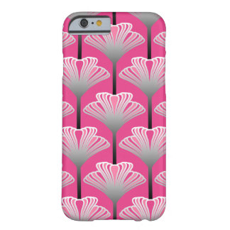 Art Deco Lily, Fuchsia Pink and Silver Gray Barely There iPhone 6 Case