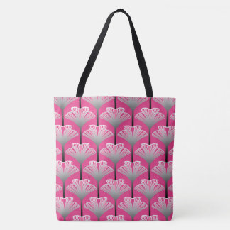 Art Deco Lily, Fuchsia Pink and Silver Gray Tote Bag