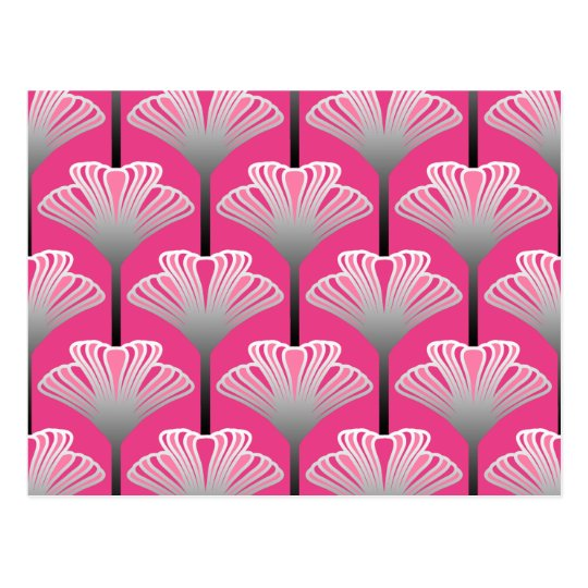 Art Deco Lily, Fuchsia Pink and Silver Grey
