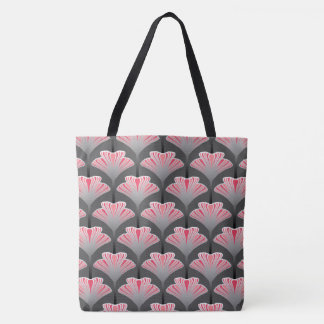 Art Deco Lily, Gray / Grey and Coral Pink Tote Bag