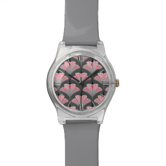 Art Deco Lily, Gray / Grey and Coral Pink Watches
