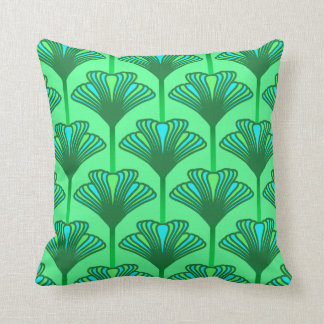 Art Deco Lily, Jade Green and Turquoise Cushion