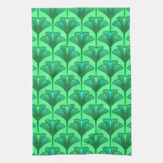 Art Deco Lily, Jade Green and Turquoise Tea Towel