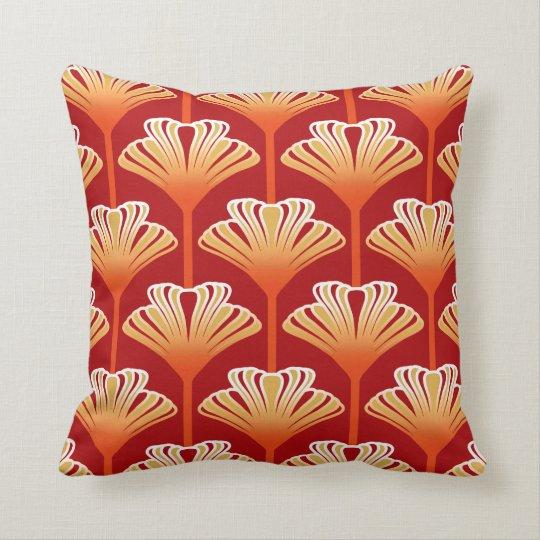 Art Deco Lily, Tangerine Orange and Gold Cushion