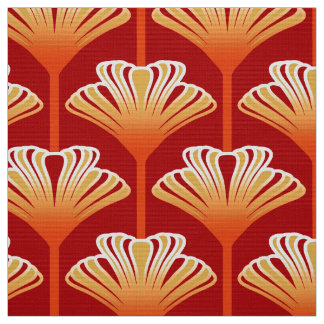 Art Deco Lily, Tangerine Orange and Gold Fabric