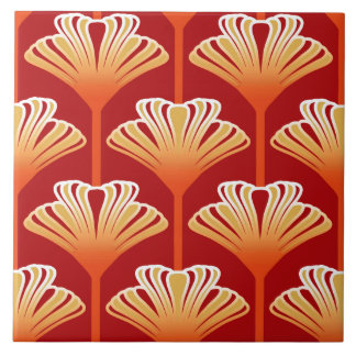 Art Deco Lily, Tangerine Orange and Gold Large Square Tile