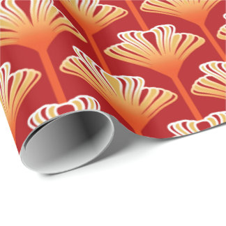 Art Deco Lily, Tangerine Orange and Gold Wrapping Paper