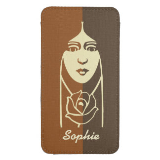 Art Deco Long Haired Girl With Rose