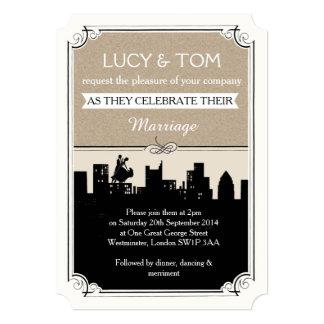 """Art Deco 'Love in the City' Wedding Invitation 5"""" X 7"""" Invitation Card"""
