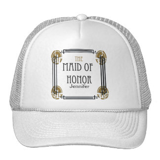 Art Deco Maid of Honor in Black and Gold Cap