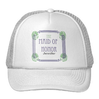 Art Deco Maid of Honor in Purple and Green Cap
