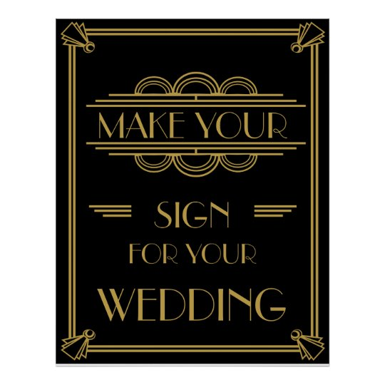 Art Deco Make your own poster party /wedding