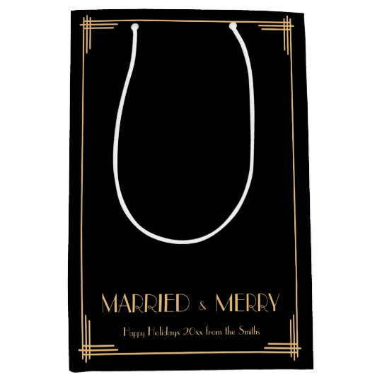 Art Deco Married And Merry Christmas Gift Bags