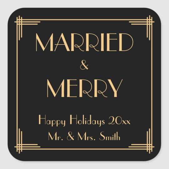 Art Deco Married And Merry Christmas Stickers