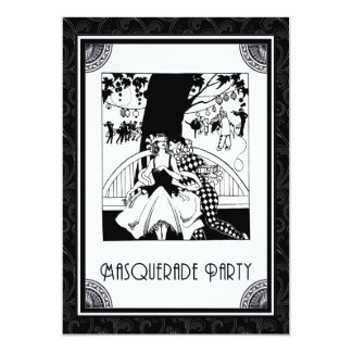 Art Deco Masquerade Party in Black and White Card