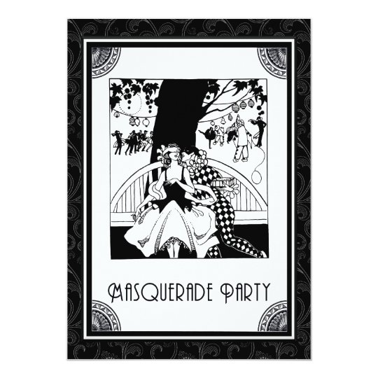 Art Deco Masquerade Party in Black and White