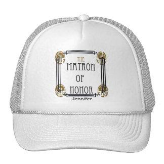 Art Deco Matron of Honor in Black and Gold Cap
