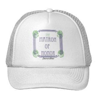 Art Deco Matron of Honor in Purple and Green Cap