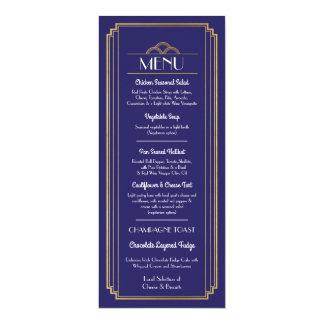 Art Deco Menu Gold Navy Wedding 1920's Reception Card
