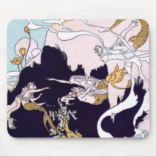 Art Deco Mermaids Mouse Mat