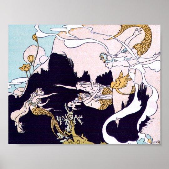 Art Deco Mermaids Poster