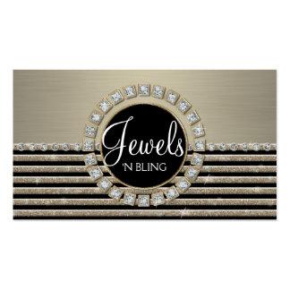 Art Deco Modern Horizontal Stripe Glitter Business Business Card